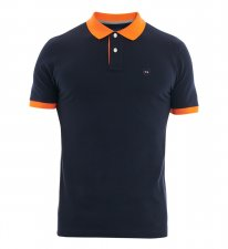 Polo bleu col orange