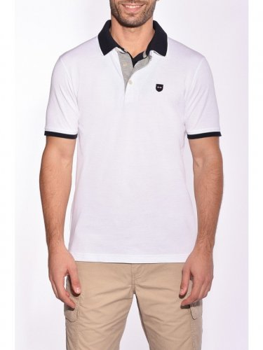 Polo double col blanc