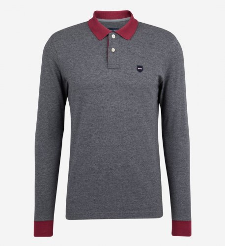 Polo gris col bordeaux