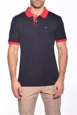 Polo marine col rouge