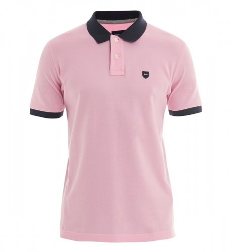 Polo rose col marine