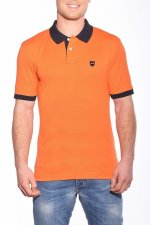Polo uni orange col marine
