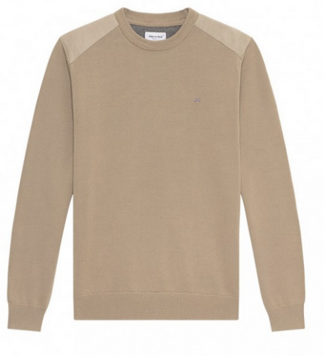 Pull col rond Nottingham beige