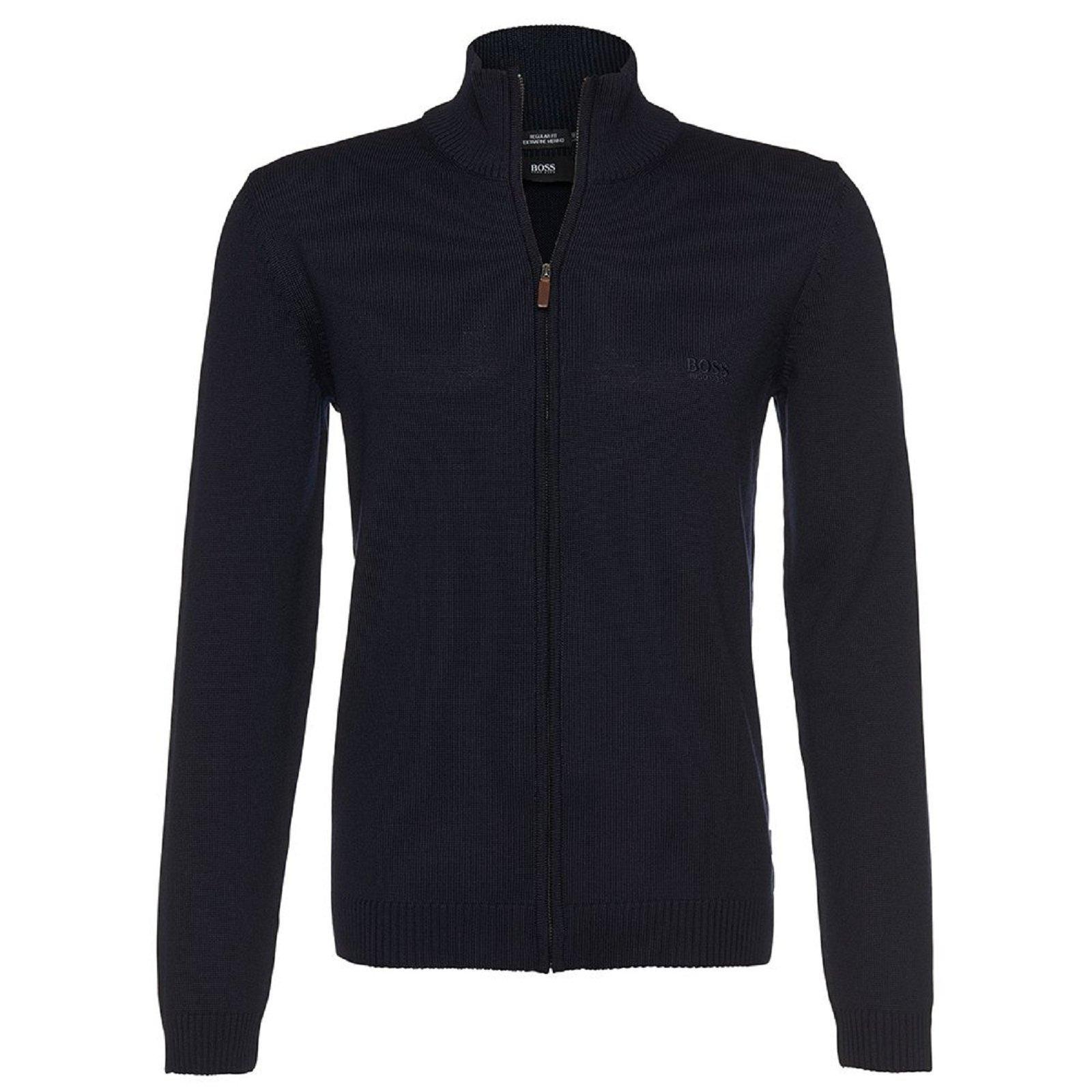 hugo boss gilet zippe en laine marine 50298475 gilet pour homme. Black Bedroom Furniture Sets. Home Design Ideas