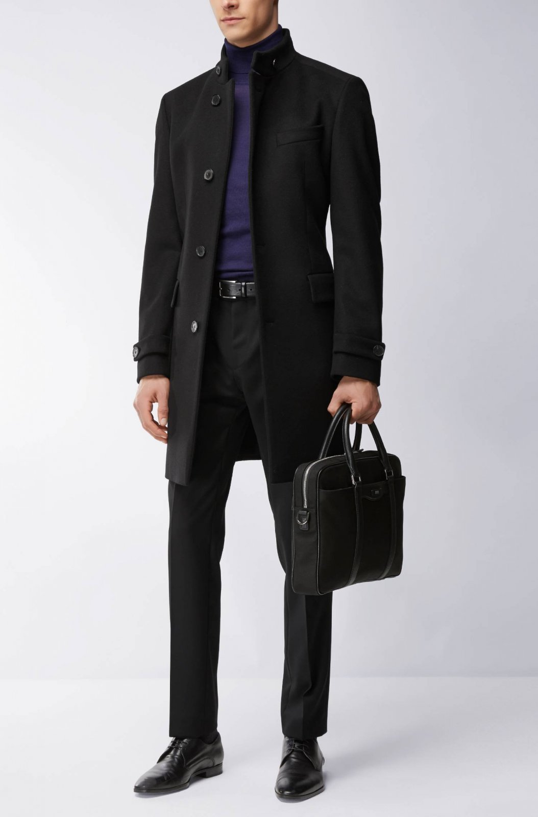 meilleur authentique db910 5ff4b HUGO BOSS Manteau Regular Fit en laine mélangée col montant