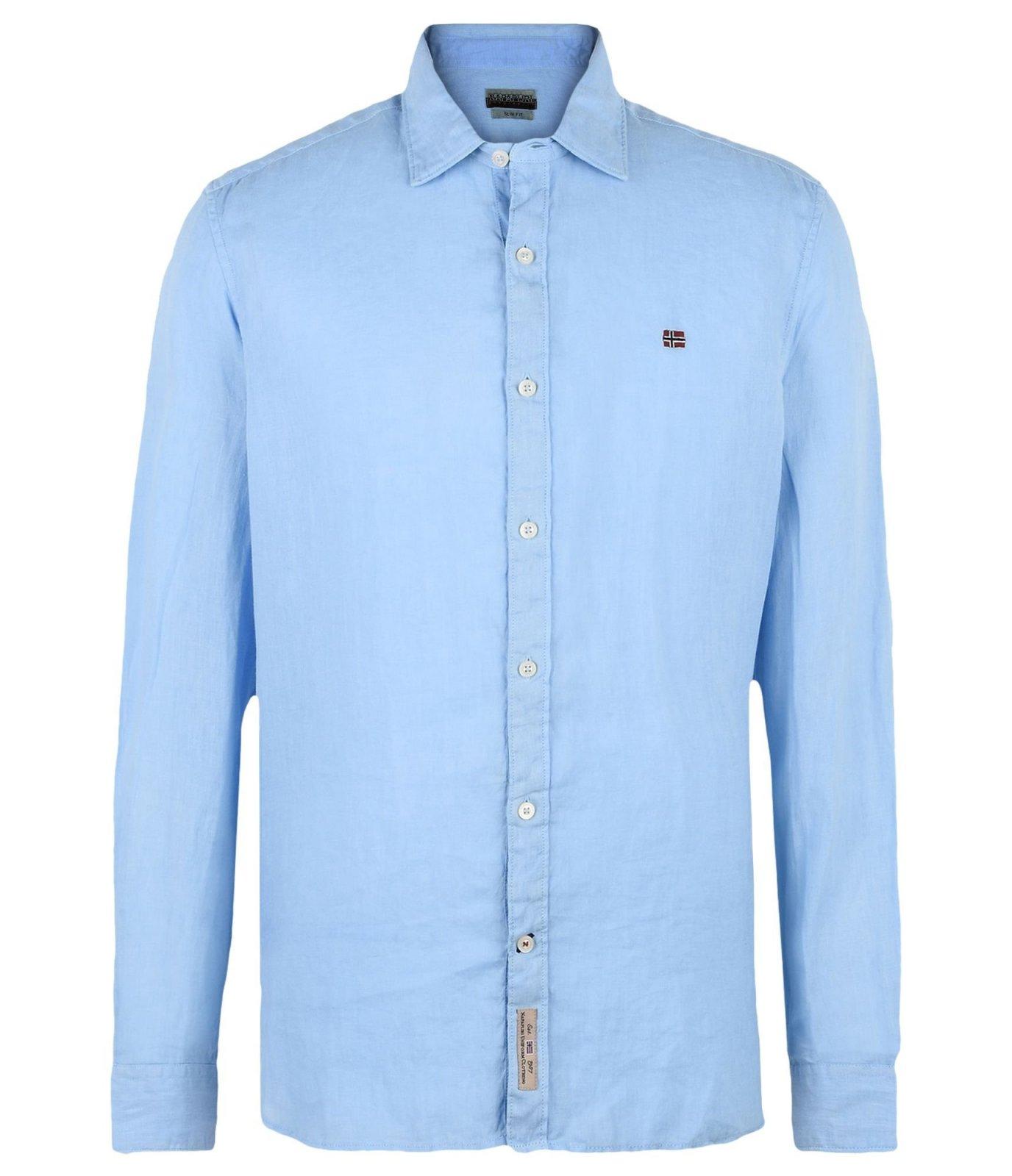 napapijri chemise en lin bleu gervas chemises pour homme. Black Bedroom Furniture Sets. Home Design Ideas