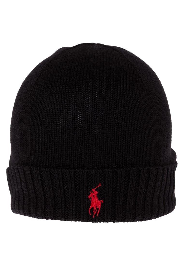 f7659407f87 RALPH LAUREN Bonnet laine noir logo rouge - 710568980005