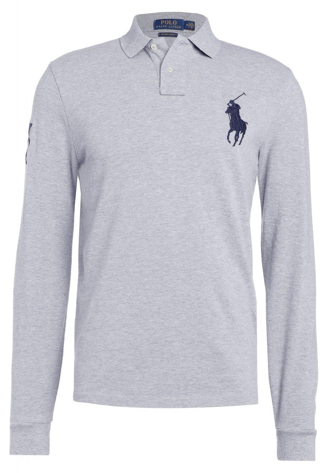 Polo big poney gris. Polo manches longues pour homme de la marque Ralph  Lauren gros logo   - 2 boutons. 5e60122fe00