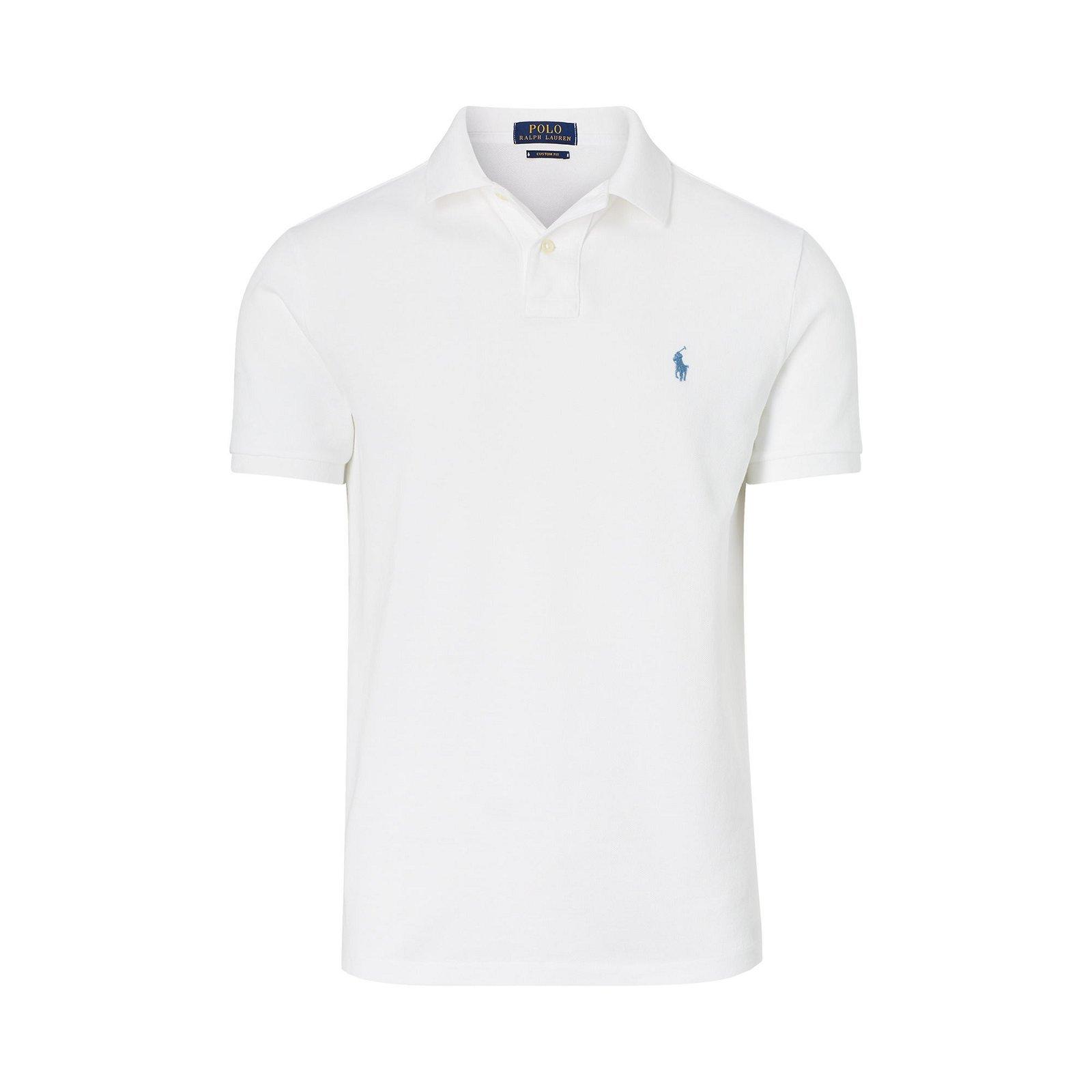 polo blanc logo bleu clair. Polo uni pour homme Ralph Lauren Slim   - Col  polo côtelé. fc797eadca6