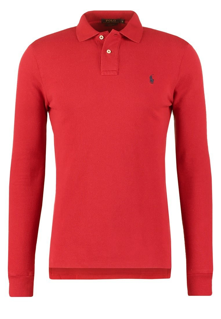 RALPH LAUREN Polo manches longues rouge slim fit ... c66e016ea003