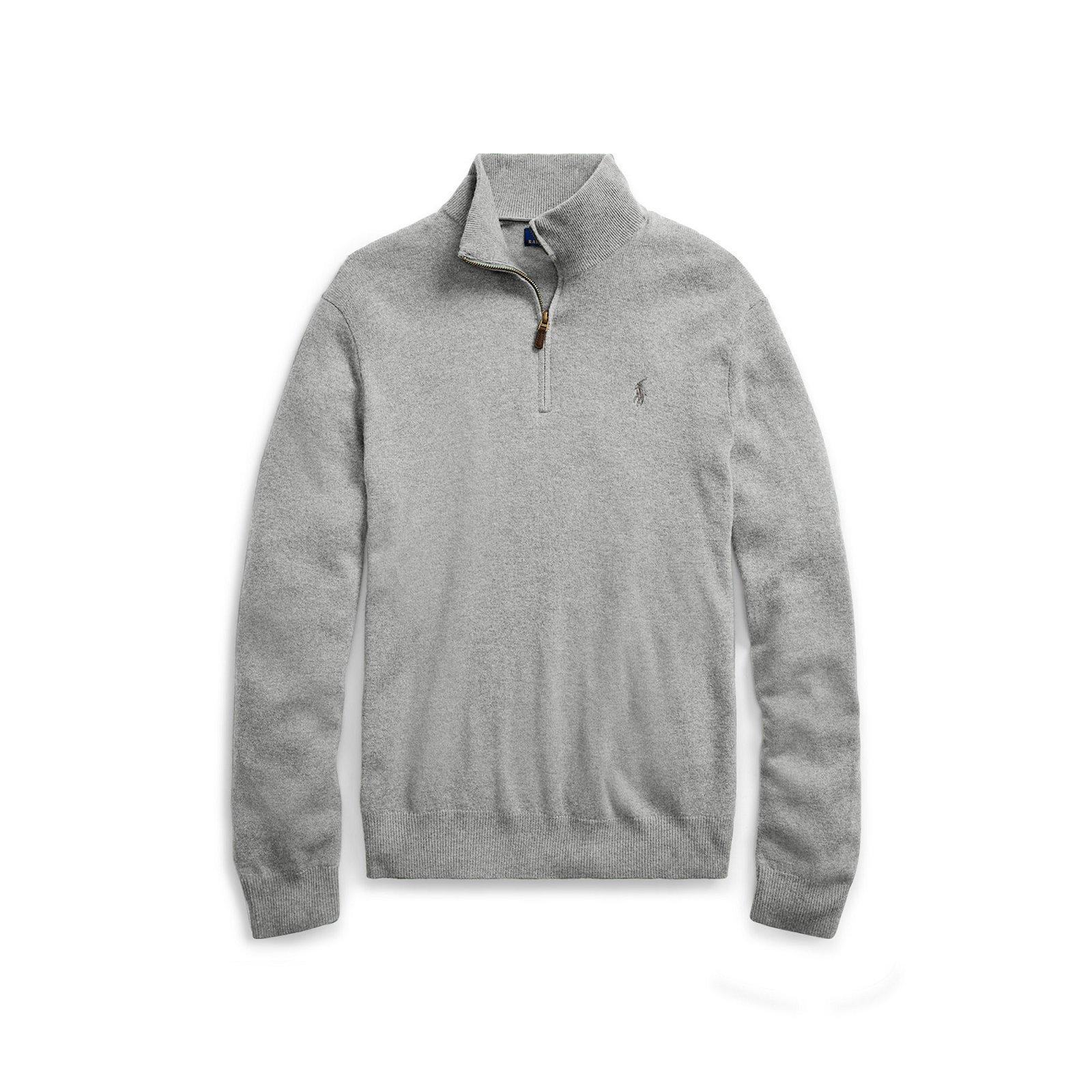 Pull demi-zippé en laine de mérinos. Pull pour homme demi-zippe avec  coudière de la marque Ralph Lauren   5a9729025bcb