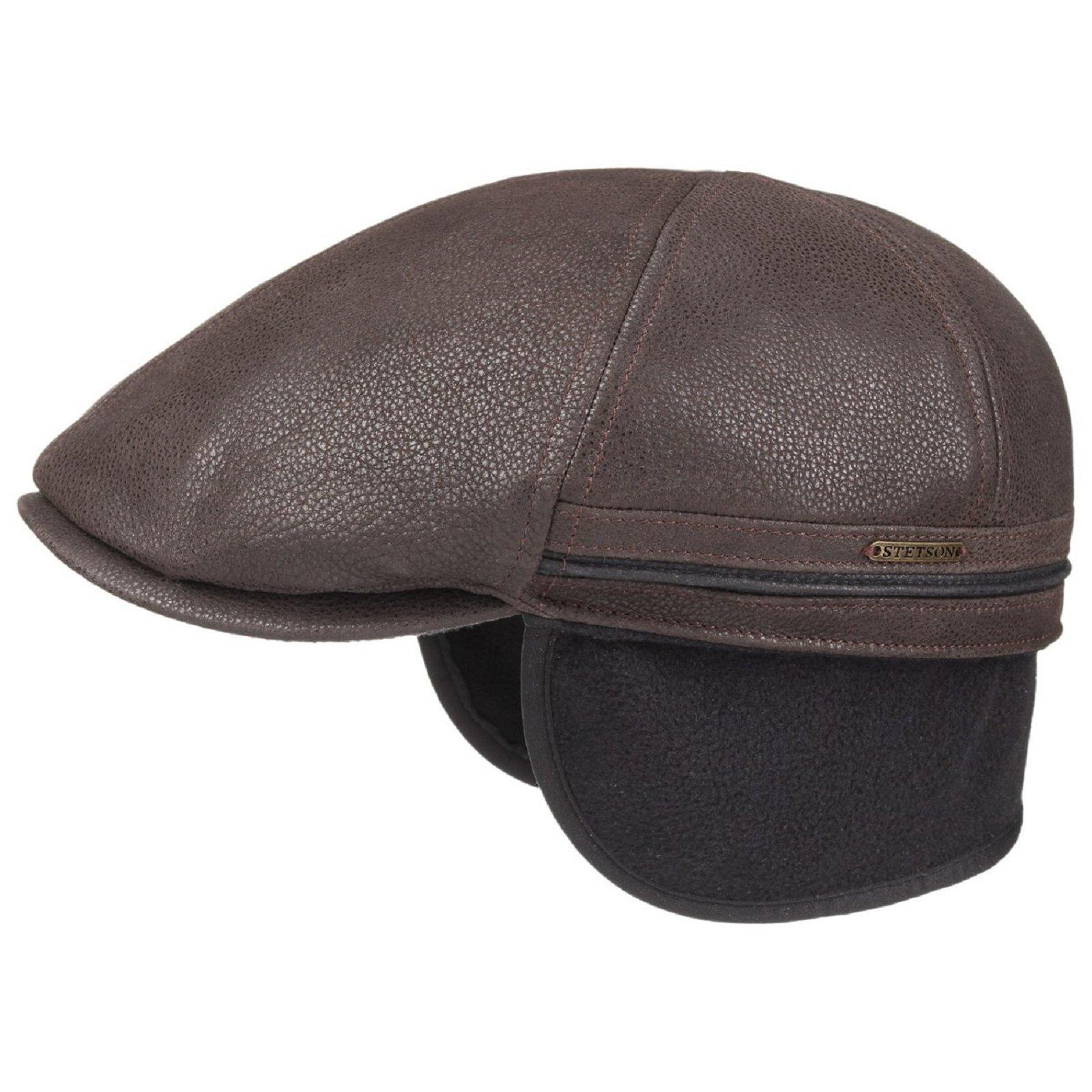 factory attrayant et durable belle couleur STETSON Casquette en cuir marron avec cache oreilles