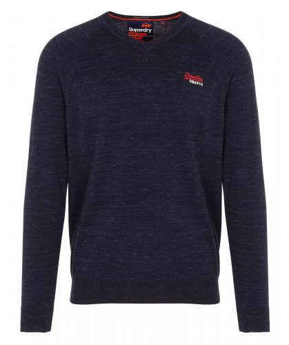 Pull col V regular-fit en coton Bleu