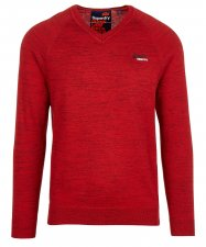 Pull col V regular-fit en coton Rouge